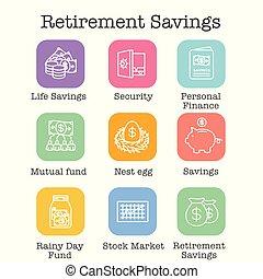 Retirement Account and Savings Icon Set w Mutual Fund, Roth IRA, etc