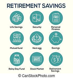 Retirement Account and Savings Icon Set w Mutual Fund, Roth...