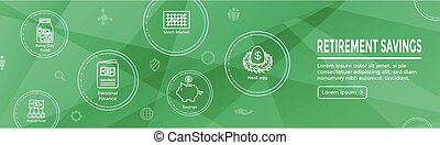 Retirement Account and Savings Icon Set Web Header Banner w...