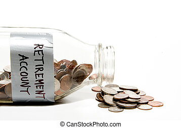 Retirement Account - A milk bottle with coins...