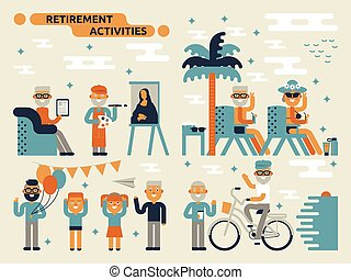 Retirement Activities - Illustration of retirement...