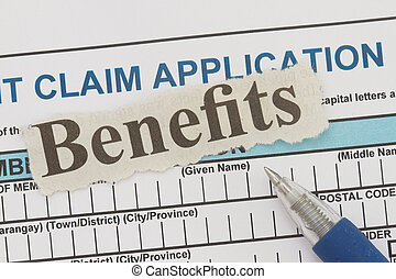 benefits newspaper cutout - Retirement application form with...