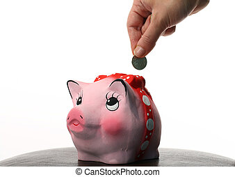 retirement Coin box pink pig and hand