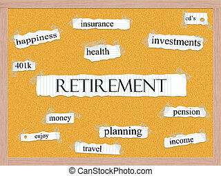 Retirement Corkboard Word Concept with great terms such as...