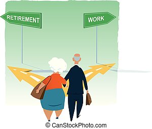 Retirement dilemma - Senior couple standing at the crossroad...