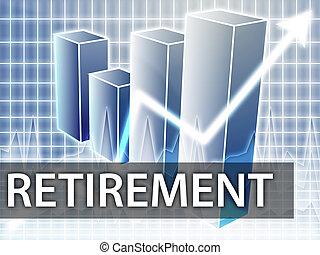 Retirement finances illustration of bar chart diagram