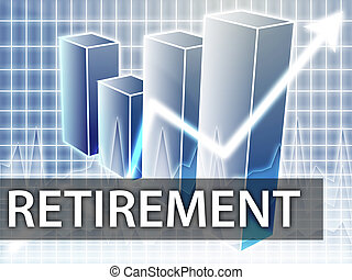 Retirement finances illustration of bar chart diagram