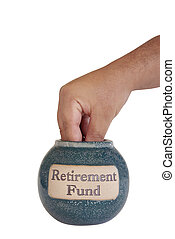 RETIREMENT FUND - hand taking out money from the retirement...