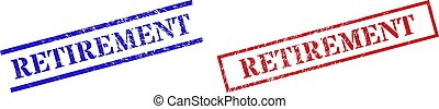 RETIREMENT Grunge Scratched Stamp Seals with Rectangle Frame
