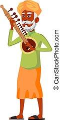 retirement indian man musician playing on sitar cartoon vector