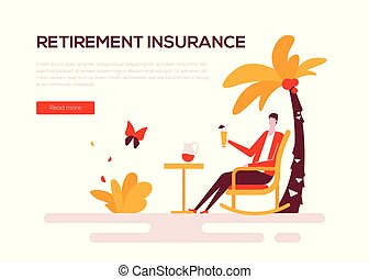 Retirement insurance - colorful flat design style web banner