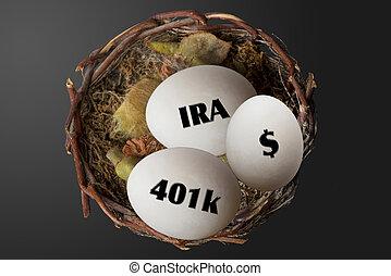 Retirement Nest Eggs. - Nest eggs of 401K,IRA and dollars.