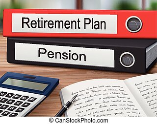 retirement plan and pension binders isolated on the wooden table. 3D illustration.
