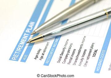 retirement plan document with pen