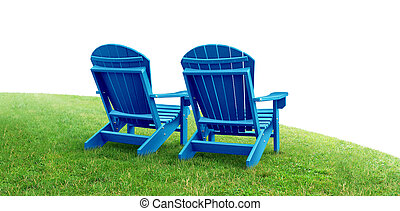 Retirement Planning symbol with two empty blue adirondack ...