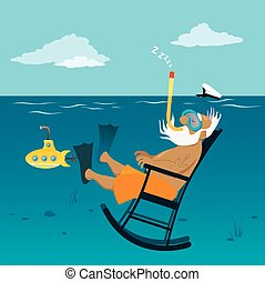 Retired old sea captain relaxing in a rocking chair underwater, breathing through a snorkel, EPS 8 vector illustration