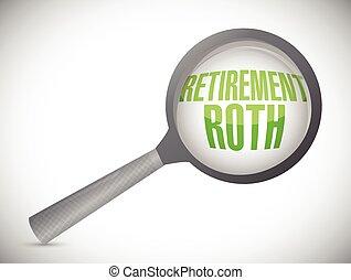 retirement roth magnify glass sign illustration design over...