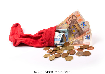 retirement savings concept - euro money in the sock