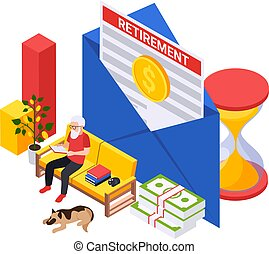 Retirement preparation plan isometric composition with old man sitting on sofa with envelope contract and coin vector illustration