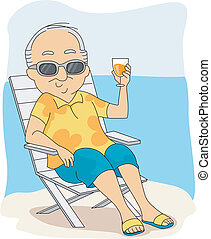 Retirement Vacation - Illustration of a Retiree Enjoying His...