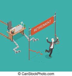 Retirement vector flat isometric illustration. Man was ...