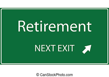 Vector illustration of a green Retirement sign