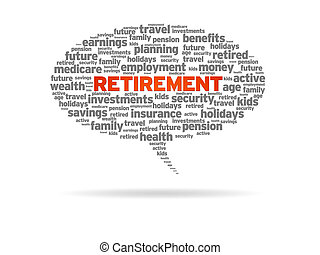 Retirement word speech bubble on white background.