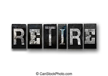 retirer, concept, type, isolé, letterpress