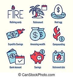 retiro, bolsas, dinero, nido, -, ahorros, conjunto, huevo, ...