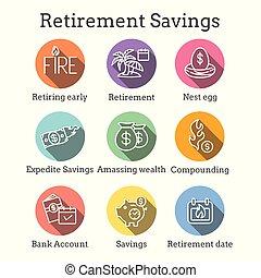 retiro, calendario, huevo, bolsas, ahorros, dinero, nido, ...