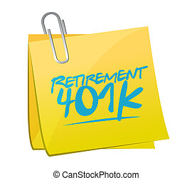 retiro, memorándum, señal, 401k, concepto, poste