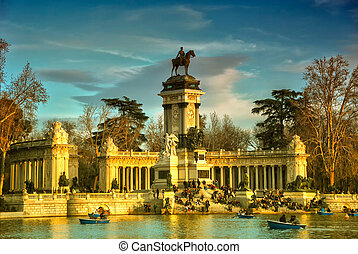 Retiro Park - monument Madrid - Retiro Park with the Alfonso...