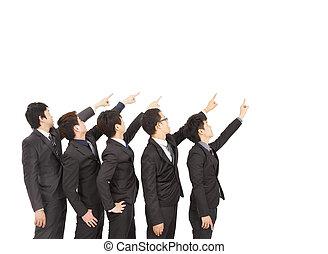 retning, gruppe, firma, pege, samme, hånd