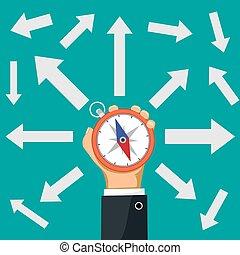 retning, hans, hånd., pile, give udtryk for, holde, kompas, forretningsmand