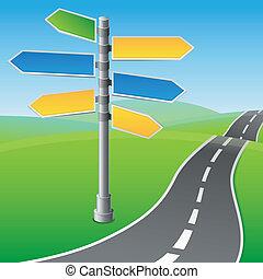 retninger, forskellige, vektor, vej underskriv