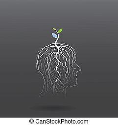 retoño, cabeza, concept., árbol, idea, pensar, verde,...