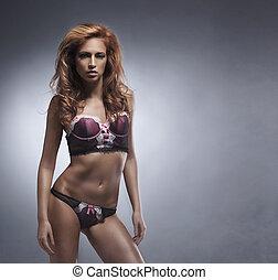 retoño de moda, de, joven, sexy, mujer