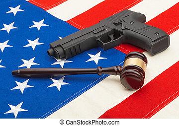 retoño, estados unidos de américa, de madera, encima,  -, arma de fuego, juez, bandera, estudio, martillo
