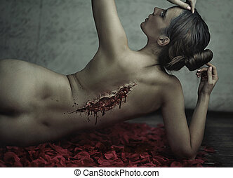 retoño, fantástico, mujer, sufrimiento