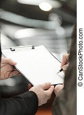 retoño, firma, agreement., coche, primer plano, contrato, ...