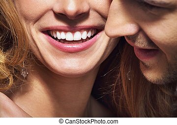 retoño, gran dientes, sonrisa, blanco, agradable