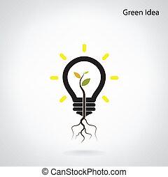 retoño, luz, árbol, idea, verde, bombilla, crecer