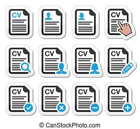 retomar, currículo, -, vitae, ícones, cv