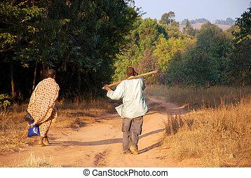retorno, campos, tanzânia, -, pomerini, áfrica, vila