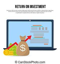 retorno, conceito negócio, roi, lucro, investimento