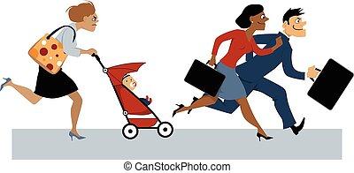 retorno, de, licença maternidade