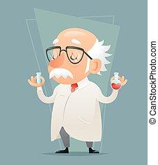 retorten-, altes , beweglich, abbildung, wissenschaftler, ...