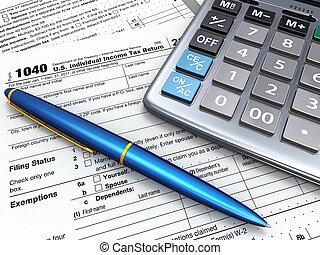 retour, calculatrice, impôt, 1040, pe?., 3d