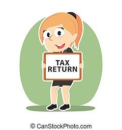 retour, femme affaires, impôt, panneau signe, tenue
