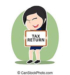 retour, femme affaires, impôt, signe, asiatique, tenue, planche